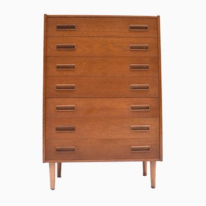 Danish Light Oak Tallboy Chest of Drawers, 1960s