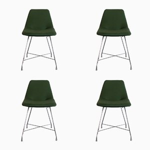 Fabric & Chrome-Plated Athena Dining Chairs by Augusto Bozzi for Saporiti Italia, 1950s, Set of 4