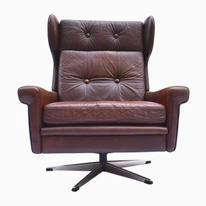 Danish Leather Swivel Chair by Skipper Mobler, 1960s