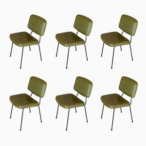 Model CM 196 Green Skai Chairs by Pierre Paulin for Thonet, 1960s, Set of 6