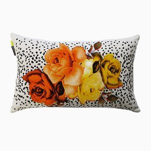 Bouquet with Black Dots Cushion by Rana Salam