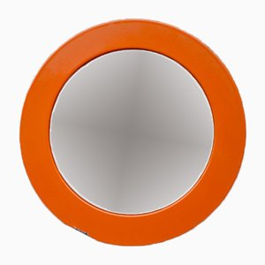 Vintage Orange Enameled Round Mirror