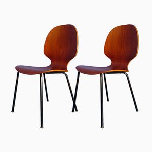 Teak & Plywood Chairs, 1960s, Set of 2