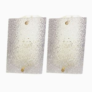 Glass & Lacquered Steel Wall Lamps from Disderot, 1950s, Set of 2