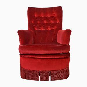 Red Velvet Lounge Chair, 1950s