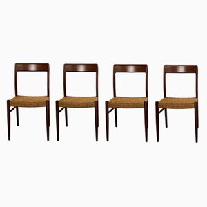 Mid-Century Model 77 Chairs by Niels Otto Møller for J.L. Møllers, 1950s, Set of 4