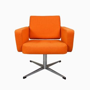 Mid-Century Danish Orange Wool Swivel Lounge Arm Chair, 1960s