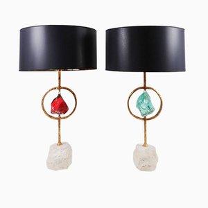 Tischlampen aus Messing, Kristallglas & Travetin von Giacomo Cuccoli, 2012, 2er Set