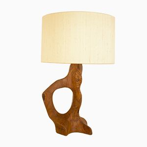 Mid-Century French Free Form Olive Wood Table Lamp, 1950s