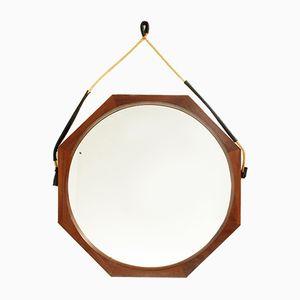 Italian Octagonal Teak Frame Mirror, 1960s