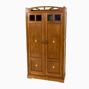 Dutch Oak Art Nouveau Armoire with Inlay, 1900s