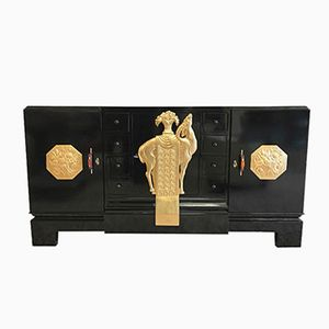 Italian Art Deco Sideboard with Gold Leaf, 1930s