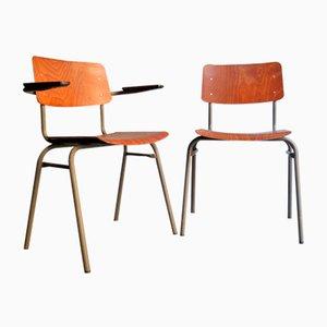 Vintage Wooden Veneer Chairs, Set of 2