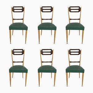 Italian Green Skai Dining Chairs, 1950s, Set of 6