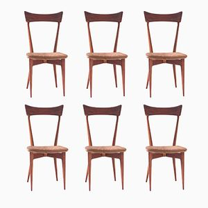 Italian Leather & Mahogany Dining Chairs by Ico Parisi for Paolo Longoni Cabiale, 1950s, Set of 6
