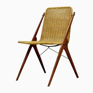 Dutch Teak & Reed Desk Chair, 1950s