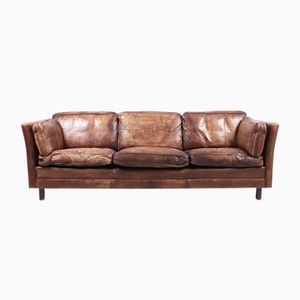 Vintage Danish Brown Leather Sofa from Mogens Hansen, 1980s