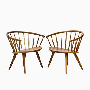 Mid-Century Swedish Arka Chairs by Yngve Ekström for Stolfabriks AB, 1960s, Set of 2