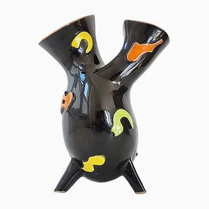Mid-Century French Ceramic Tripod Double Vase, 1950s
