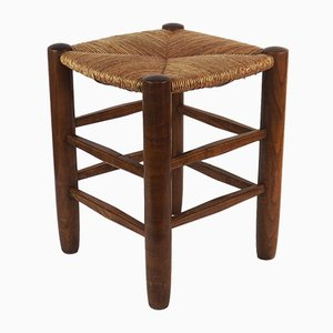 Mid-Century Straw Stool by Charlotte Perriand