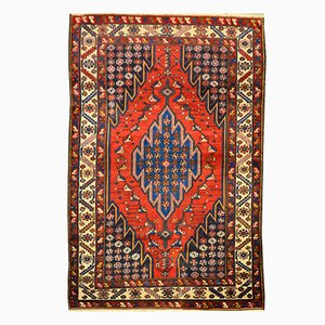 Red Over Blue Background Wool Persian Sirjan Rug, 1920s