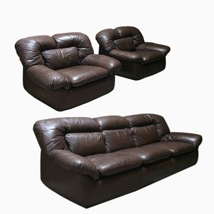 Leather Sofa and Lounge Chairs, 1960s, Set of 3