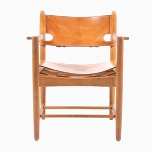 Leather & Oak Dining Chairs by Børge Mogensen for Fredericia, 1960s, Set of 6