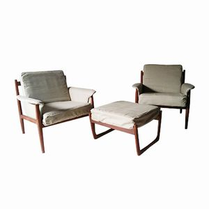 Lounge Chairs & Ottoman by Grete Jalk for France & Søn, 1950s, Set of 3