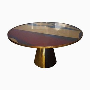 Round Table with Abstract Design Top and Pyramidal Base by Mordecai Pillant, 2016