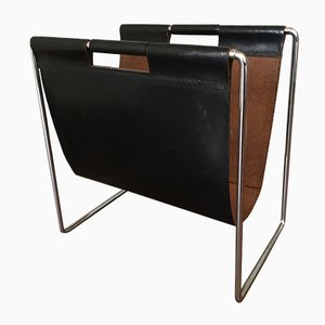 Vintage Leather and Metal Magazine Rack from Brabantia