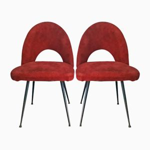 French Plush Side Chairs, 1950s, Set of 2