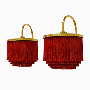 Silk Fringe and Brass V271 Wall Lamps by Hans-Agne Jacobsson, 1960s, Set of 2