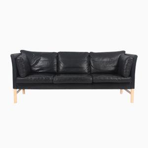 Danish Black Leather Sofa by Takashi Okamura & Erik Marquardsen for Skipper, 1980s
