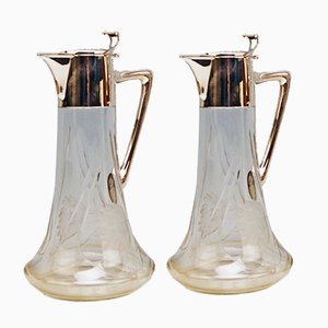 Art Nouveau Decanters in Silber 800 and Glass by Alexander Birkl, 1900s, Set of 2