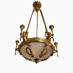Antique Louis XVI Style Chandelier with Cherubs in Gilt Bronze