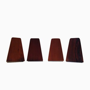 Danish Mid-Century Teak and Rosewood Bookends by FM Moebler, 1960s, Set of 4