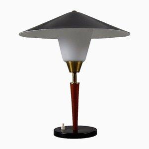 Danish Teak, Brass and Opaline Glass Table Lamp from Fog & Mørup, 1950s
