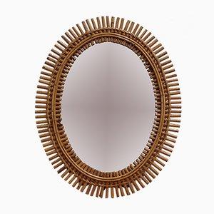 Italian Rattan Oval Wall Mirror, 1960s
