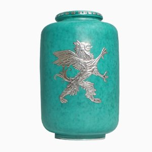 Vintage Argenta Steingut Vase von Willhelm Kåge für Gustavberg
