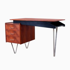 Small Dutch Teak Veneer & Metal Hairpin Legs Asymmetrical Writing Desk with Drawer Box, 1950s