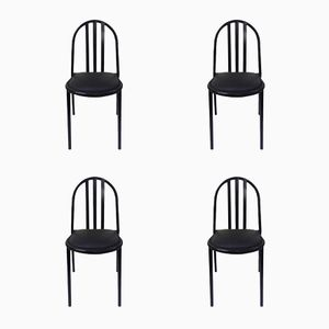 Vintage Black Lacquered Metal Chairs by Robert Mallet-Stevens, 1980s, Set of 4