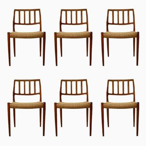 Danish 83 Dining Chairs by Niels Otto Møller for J.L. Møllers, 1970s, Set of 6