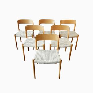 Mid-Century Danish 75 Dining Chairs by N.O. Møller, 1960s, Set of 6