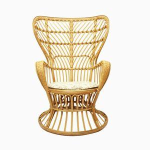 Italian Conte Biancamano Wicker Lounge Chair by Gio Ponti & Lio Carminati for Vittorio Bonacina, 1950s