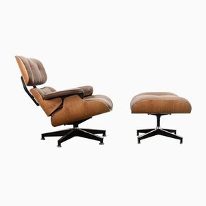 Brown Leather Armchair & Ottoman by Charles & Ray Eames for Herman Miller, 1970s