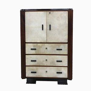 Italian Art Deco Parchment Cabinet, 1930s