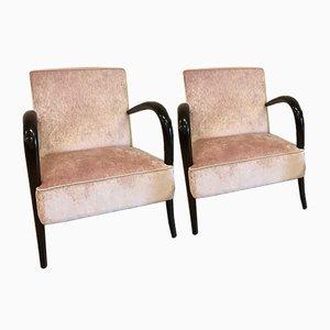 Art Deco Italian Rosewood Armchairs, 1930s, Set of 2