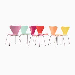 Model 3107 Side Chairs by Arne Jacobsen for Fritz Hansen, 1980s, Set of 6