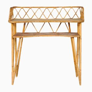 French Rattan Console Table, 1950s
