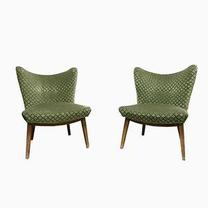Mid-Century Velour Chairs, 1950s, Set of 2